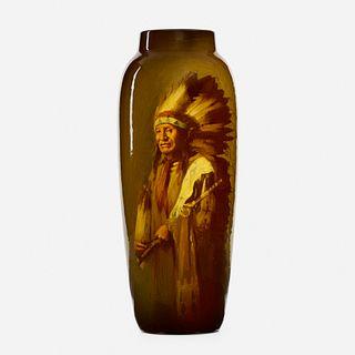 Grace Young for Rookwood Pottery, Standard Glaze Native American portrait vase