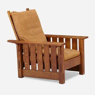 Gustav Stickley, Flat-arm Morris chair, model 332