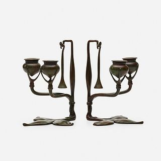 Tiffany Studios, Fleur-de-Lis candleholders with snuffers, pair