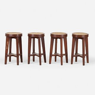 Pierre Jeanneret, Stools from Punjab University, Chandigarh, set of four