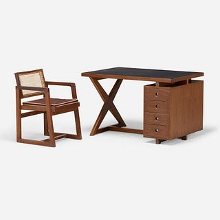 Pierre Jeanneret, Desk from the Administrative Buildings and armchair from Punjab University, Chandigarh