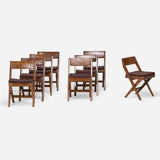 Pierre Jeanneret, Chairs from the Central Library of Punjab University, Chandigarh, set of eight