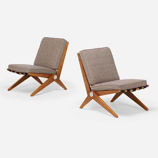 Pierre Jeanneret, Scissor chairs model 92, pair
