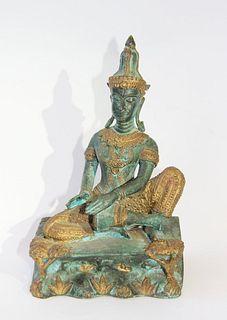 A BRONZE FIGURE OF SEATED BUDDHA, THAILAND