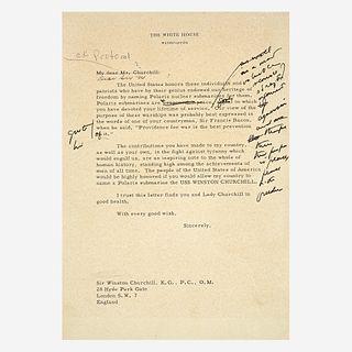 [Presidential] [Churchill, Winston] Kennedy, John F. Typed Draft Letter, annotated