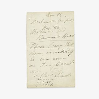 [Presidential] [First Ladies] Lincoln, Mary Todd Autograph Letter, signed
