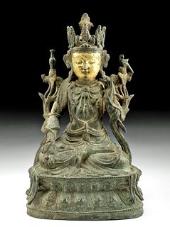17th C. Chinese Ming Dynasty Gilt Bronze Seated Guanyin