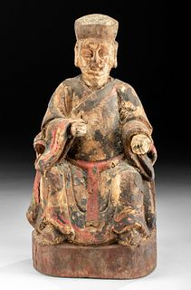 18th C. Chinese Qing Polychrome Wood God of Wealth