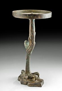 19th C. Chinese Bronze Claw Foot Candle Holder