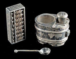 Vintage Japanese Silver Abacus Salt Shaker & Cruet