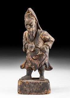 Chinese Qing Dynasty Wood Prayer Figure w/ Paper