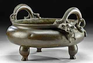 17th C. Chinese Qing Brass Censer with Dragons