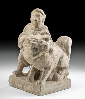 19th C. Chinese Qing Dynasty Stone Figure with Foo Dog