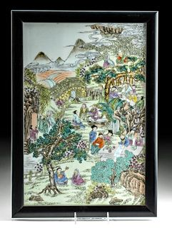 19th C. Chinese Qing Ceramic Tile - Landscape & Figures