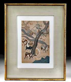 19th C. Japanese Meiji Woodblock Print w/ Horses