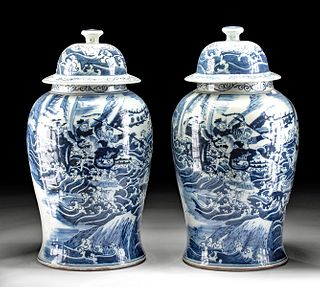 Pair of 18th C. Chinese Porcelain Urns w/ Sea Battle