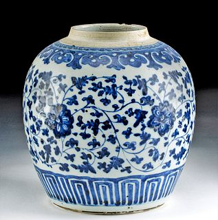 19th C. Chinese Qing Blue on White Vase w/ Floral Motif