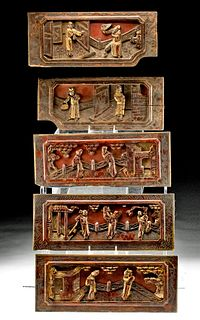 Five 20th C. Chinese Wood Furniture Panels - Courtship