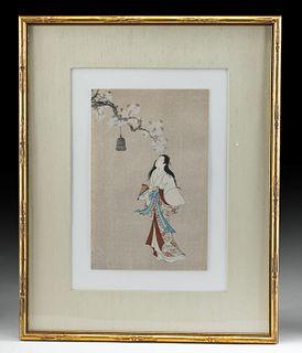 1920s Japanese Meiji Woodblock Paper Print Musume Dojoi