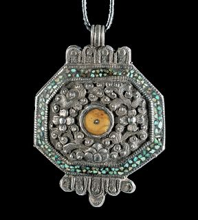 Late 19th C. Tibetan Silver, Turquoise & Copal Pendant