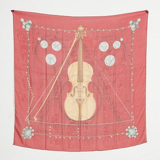 "HERMES, CHIFFON SILK ""MUSIQUE DES SPHERES"" IN RED"