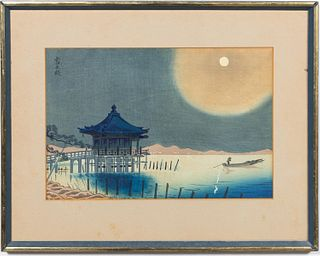"JAPANESE UKIYO-E ""UNDER MOONLIGHT"" WOODBLOCK PRINT"