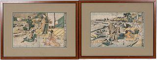 UTAGAWA TOYOKUNI, PAIR OF KABUKI ACTOR WOODBLOCKS