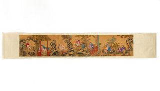 CHINESE EROTIC PAINTED SCROLL ON SILK