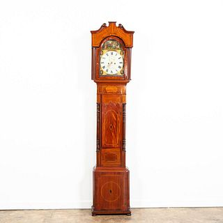 19TH C. SCOTTISH INLAID MAHOGANY TALL CASE CLOCK