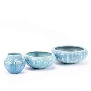 THREE BLUE ROOKWOOD POTTERY MATTE BLUE VESSELS