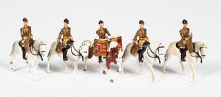 """5PC BRITAINS """"MOUNTED MUSICAL BAND"""" TOY SOLDIERS"""