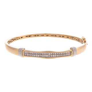 A Invisible Set Diamond Bangle Bracelet in 14K