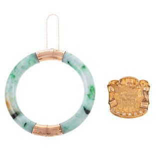 An 1893 Custom-Made Pin & Jade Bangle in 14K