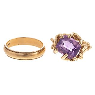 A Textured Amethyst Ring with Wedding Band in 14K