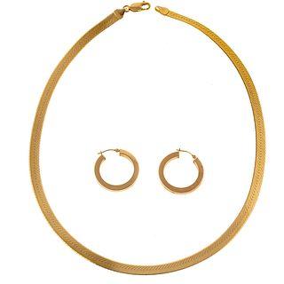 A Wide Herringbone Necklace & Pair of Hoops in 14K