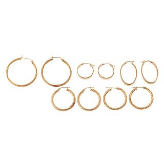A Collection of 14K Yellow Gold Hoop Earrings