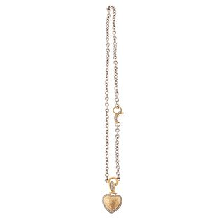 A 14K Hammered Finish Heart Pendant with Diamonds