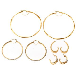 A Collection of Hoop Earrings in 14K