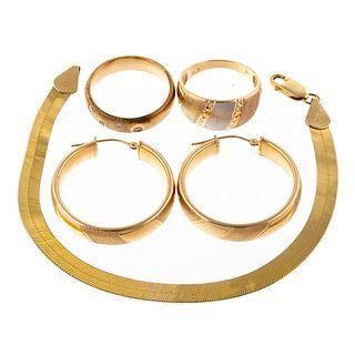 A Herringbone Bracelet, Earrings & Rings in 14K
