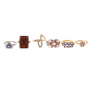 A Collection of Gold Gemstone Rings