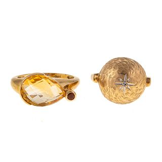 A 14K Citrine Ring & 14K Vintage Bombe Ring