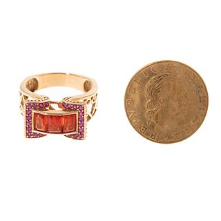 An Imperial Topaz Ring & Italian Coin Ring in 14K