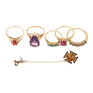 A Collection of Gold Gemstone Rings & Pin