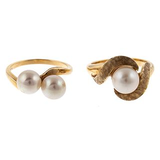 A Pair of Pearl Bypass Rings in 14K