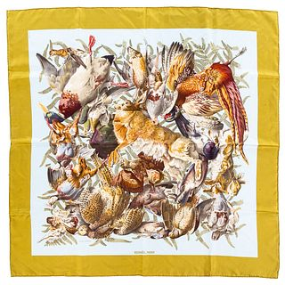 "An Hermes ""Gibiers"" Scarf 90"
