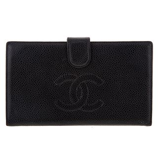 A Chanel Front Logo Long Wallet