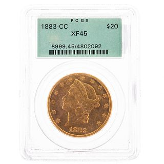 1883-CC $20 Liberty Double Eagle PCGS XF45 OGH