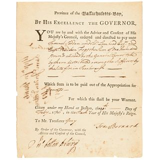 1766 Governor SIR FRANCIS BERNARD OKs Expenses for Sufferers of a Fire