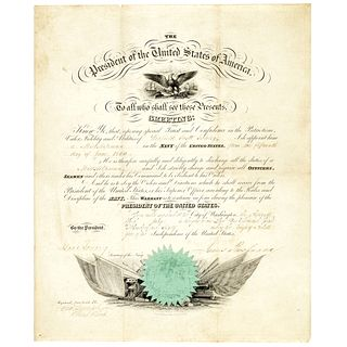 1860 President JAMES BUCHANAN Naval Appointment Winfield S. Schley as Midshipman