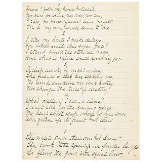 JOHN BURROUGHS Signed Manuscript Poem Fair Copy of Burroughs Famous Poem WAITING